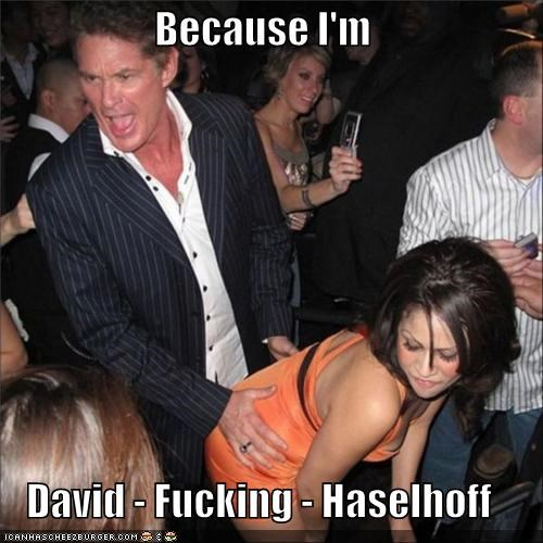 Because I'm  David - Fucking - Haselhoff