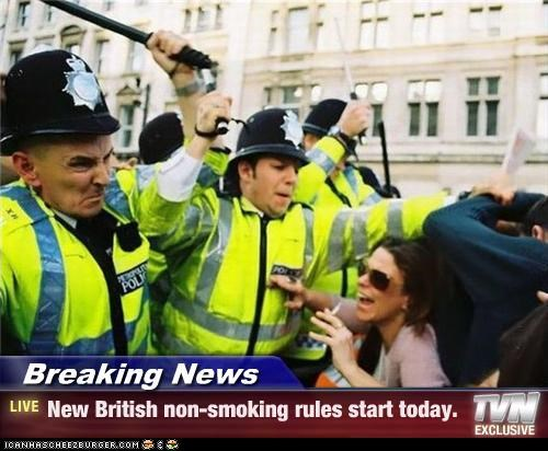 asssault,attack,batons,British,cigarettes,police,smoking,violence