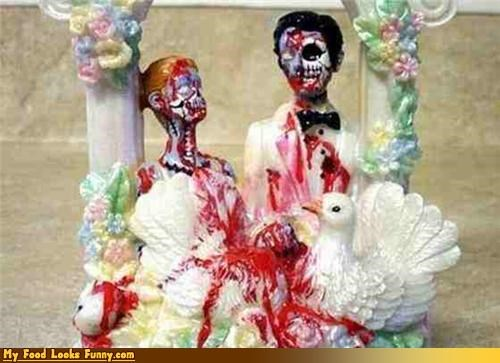 Blood,brains,bride,cake topper,groom,topper,undead,wedding cake,zombie
