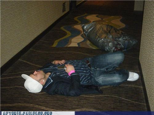 bag,drunk,hallway,hotel,passed out