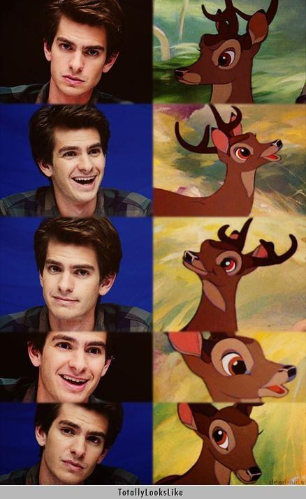 actor,andrew garfield,bambi,deer,disney