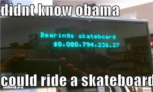 didnt know obama   could ride a skateboard