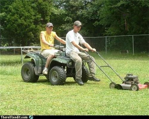 lawn mower,overkill,quad,teamwork