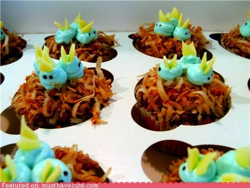 baby bird,bird,coconut,cupcakes,epicute,frosting,nest