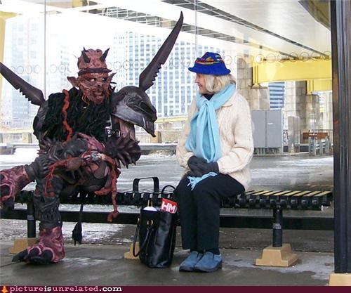 awesome,bus stop,chilling,costume,GWAR,wtf