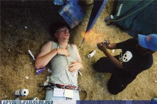 bad idea,drunk,fire,outdoors,passed out,stupid,tent