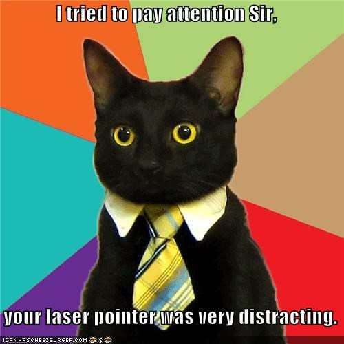 I tried to pay attention Sir,      your laser pointer was very distracting.