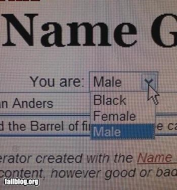 Gender Options FAIL