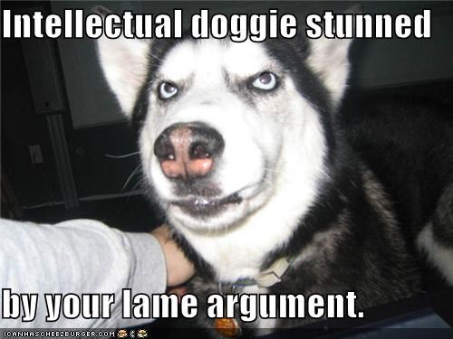 Intellectual doggie stunned  by your lame argument.