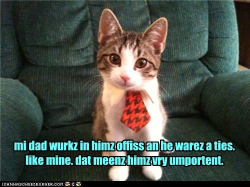 mi dad wurkz in himz offiss an he warez a ties. like mine. dat meenz himz vry umportent.