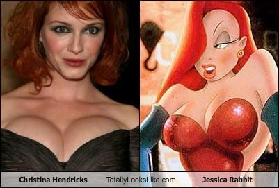 actress,cartoons,Christina Hendricks,jessica rabbit,redhead