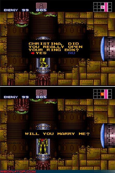 funny wedding photos,Metroid,proposal,samus aran,super metroid,video game proposal