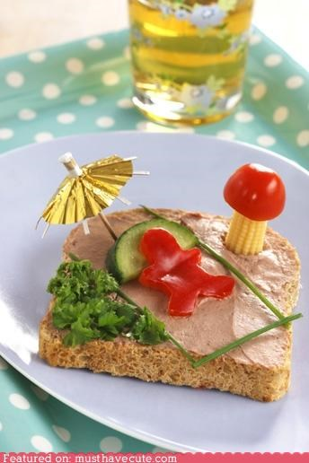 beach,epicute,liverwurst,man,peppers,sandwich,tomato,umbrella