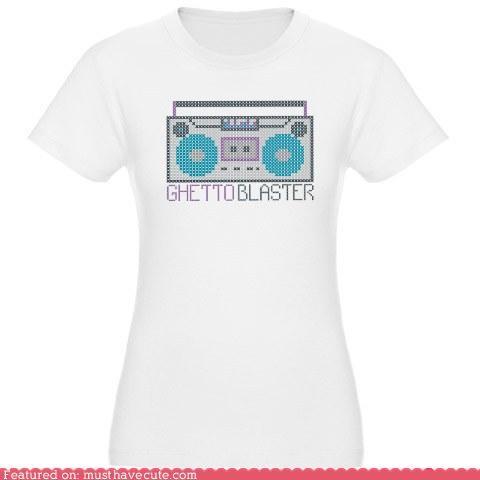 cross stitch,ghetto blaster,shirt,T.Shirt,Tee,tee shirt,tshirt