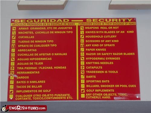 airport,security,sign,spanish,TSA