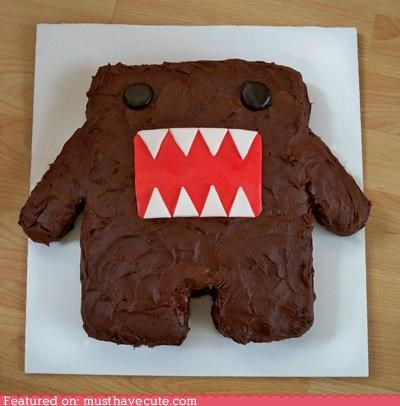 cake,chocolate,domo,epicute,face,frosting,monster