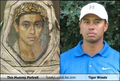 egypt,golfer,mummy,painting,portrait,sports,Tiger Woods