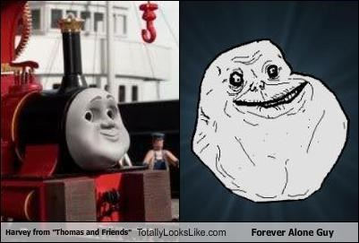 "Harvey from ""Thomas and Friends"" Totally Looks Like Forever Alone Guy"