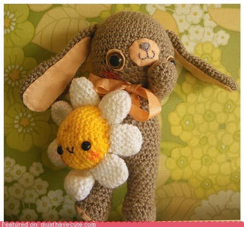 Amigurumi,bunny,crochet,Flower,Plush