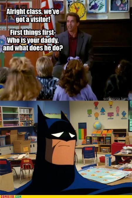 Arnold Scwarzenegger,batman,dead parents,jk,kindergarten cop