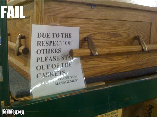 coffins,failboat,instructions,sign,try before you buy,warnings,weird