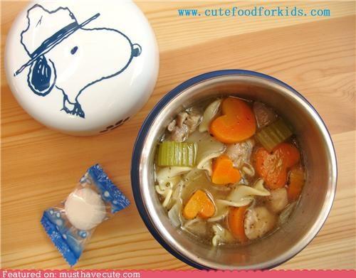 carrots,chicken noodle,epicute,hearts,snoopy,soup