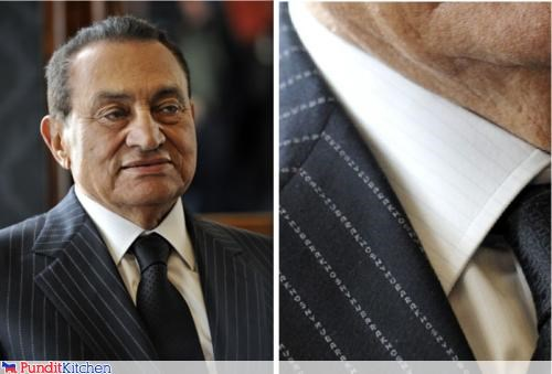 Mubarak's Pinstripes are His Name Over and Over