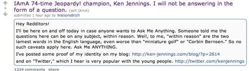 Jeopardy Champion Ken Jennings Live Of The Day