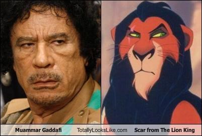 animation,dictators,libya,muammar gaddafi,politics,scar,the lion king