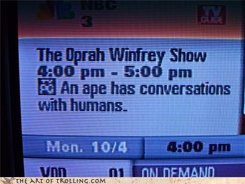ape,conversations,IRL,moms love oprah,oprah,own,racism