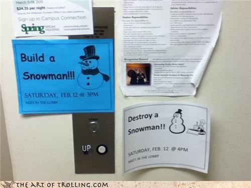 IRL Troll: Short-Lived Snowman