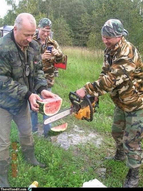 chainsaw,dual use,food,overkill,watermelon