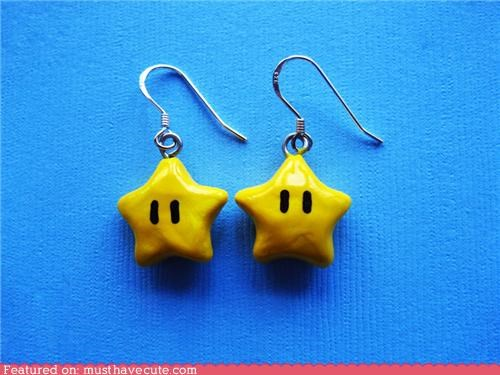 accessories,earrings,Jewelry,mario,star,super mario