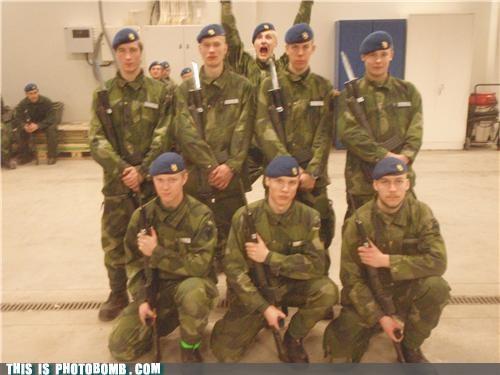 military,photobomb,Sweden,uniform