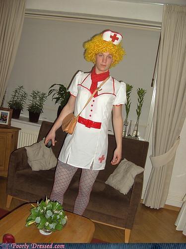 blonde,costume,leggings,nurse,purse,wig
