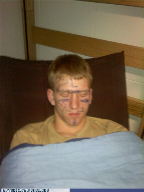 drunk,marker,Party,passed out,penis,sharpies,swastika