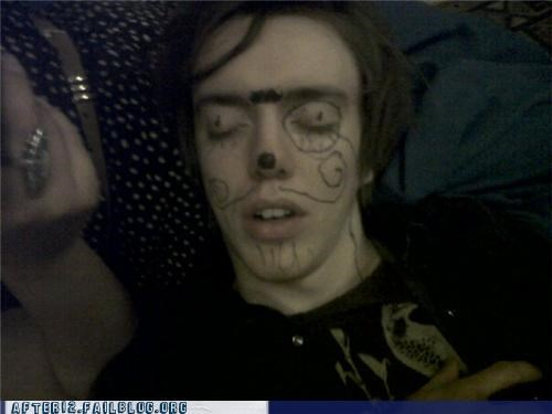 drunk,marker,monocle,passed out,sharpie