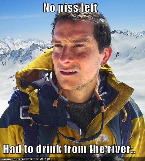 bear grylls,river,we need a new joke about bear grylls