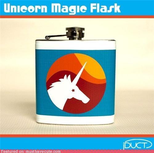 booze,duct tape,flask,magic,unicorn