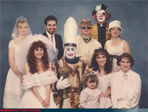80s,Awkward,clown pope,clown wedding,funny wedding photos