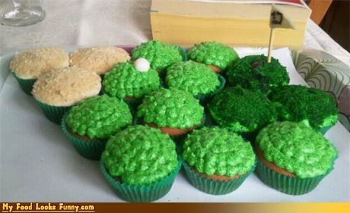 cupcakes,flag,golf,golf course,grass
