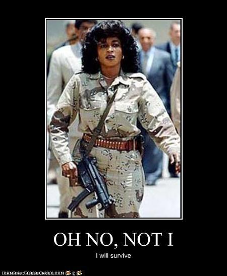 angels,disco,gloria gaynor,guns,i will survive,libya,muammar gadaffi,women