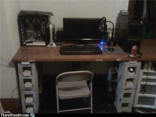 cinderblock,desk,DIY,holding it up