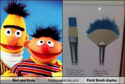Bert and Ernie Totally Looks Like Paint Brush Display