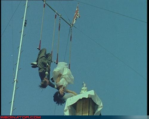 circus,funny wedding photos,trapeze,vintage