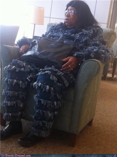 chair,denim,ghillie suits,jacket,woman,wtf
