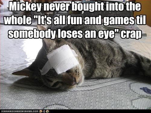 "Mickey never bought into the whole ""It's all fun and games til somebody loses an eye"" crap"