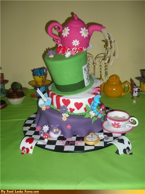 alice in wonderland,cake,epicute,fondant,hat,tea,tea party,teapot