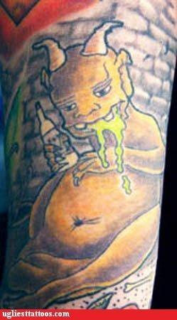puke,gross,tattoos,devil,funny