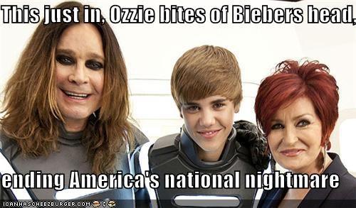 This just in, Ozzie bites of Biebers head,  ending America's national nightmare
